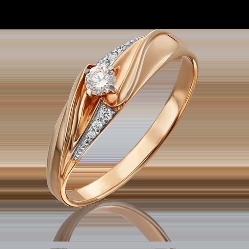 Кольцо из красного золота бриллиантом 01-4962-00-101-1110-30
