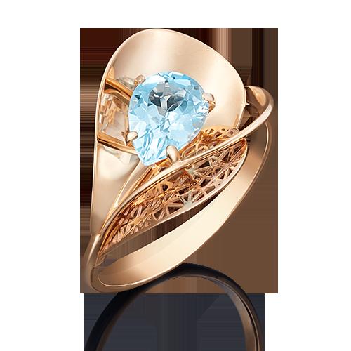 Кольцо из красного золота с топазом 01-4963-00-201-1110-46