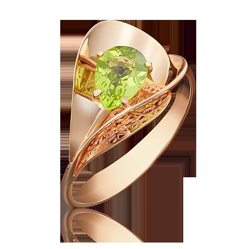 Кольцо из красного золота с хризолитом 01-4963-00-205-1110-46