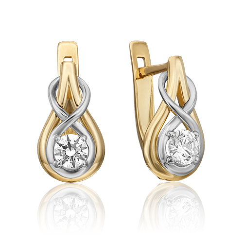 Серьги с английским замком из комбинированного золота бриллиантом 02-4467-00-101-1121-30