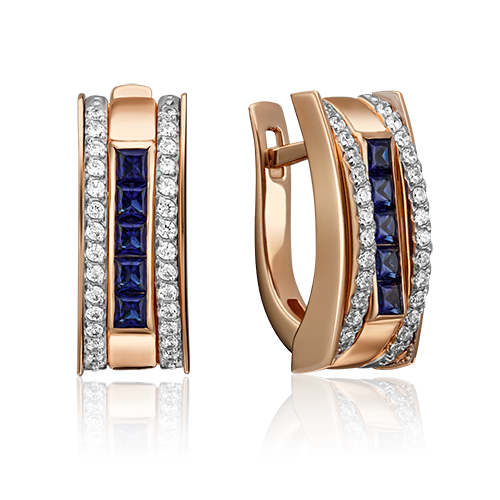 Серьги с английским замком из красного золота с сапфиром и бриллиантом 02-4293-00-105-1110-30