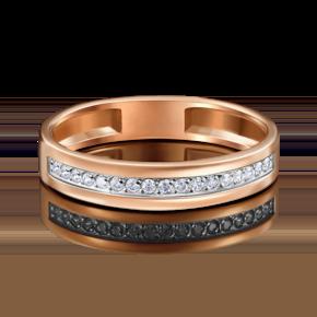 Обручальное кольцо из красного золота с фианитом 01-1769-00-401-1110-03