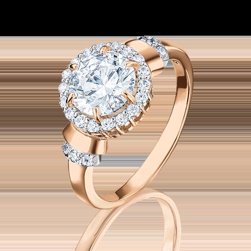 Кольцо из красного золота с фианитом огр.SW 01-4255-00-501-1110-38