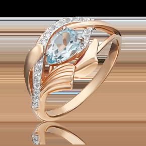 Кольцо из красного золота с топазом и топазом white 01-5378-00-201-1110-57