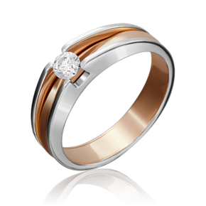 Помолвочное кольцо из комбинированного золота с бриллиантом 01-5177-00-101-1111-30