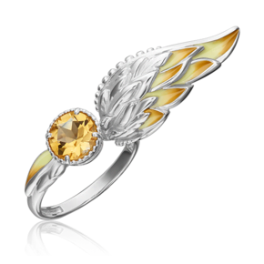 Кольцо из серебра с цитрином и эмалью 01-5468-00-206-0200-68