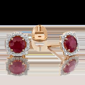 Серьги-пусеты из красного золота с рубином и бриллиантом 02-0751-00-107-1110-30