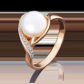 Кольцо из красного золота с жемчугом культивированным и фианитом 01-4735-00-302-1110-31