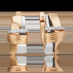 Серьги с английским замком из комбинированного золота с фианитом 02-4595-00-401-1111-23