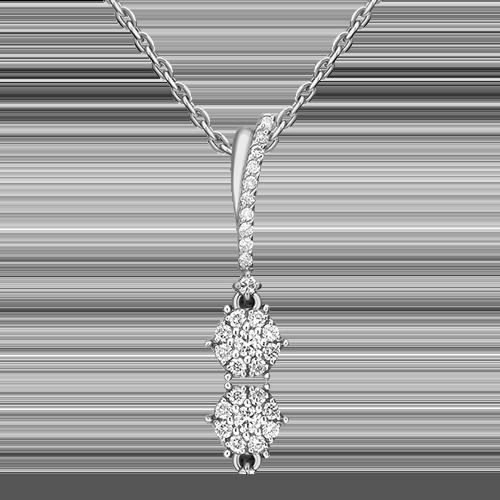 Подвеска из белого золота с бриллиантом 03-3306-00-101-1120-30