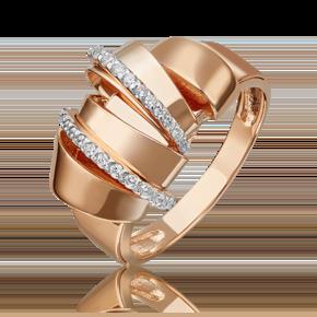 Кольцо из красного золота с фианитом 01-5419-00-401-1110-48