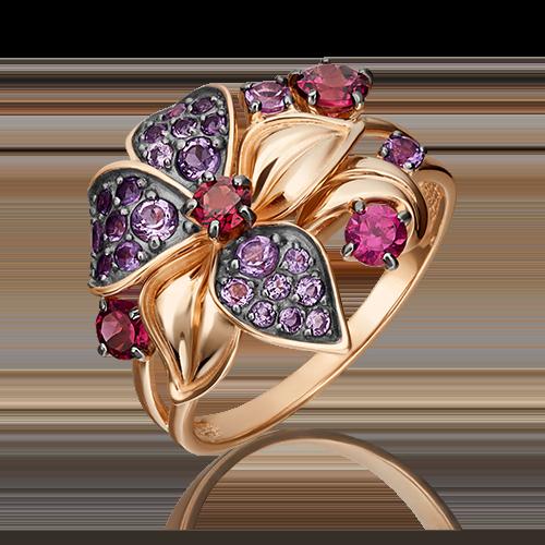 Кольцо из красного золота с гранатом и аметистом 01-5391-00-257-1110-57