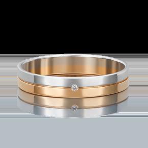 Обручальное кольцо из комбинированного золота с бриллиантом 01-1167-00-101-1111-30