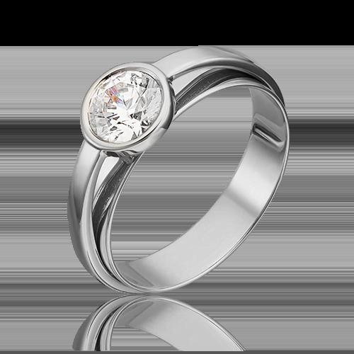 Помолвочное кольцо из белого золота с фианитом огр.SW 01-5405-00-501-1120-38
