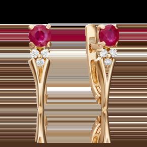 Серьги с английским замком из красного золота с рубином и бриллиантом 02-0439-00-107-1110-30