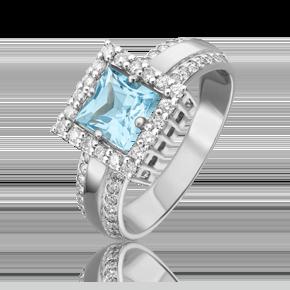 Кольцо из белого золота с топазом и бриллиантом 01-1320-00-113-1120-30