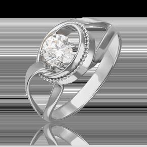 Кольцо из белого золота с фианитом огр.SW 01-5423-00-501-1120-38