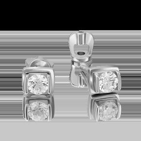Серьги-пусеты из белого золота с бриллиантом 02-4204-00-101-1120-30