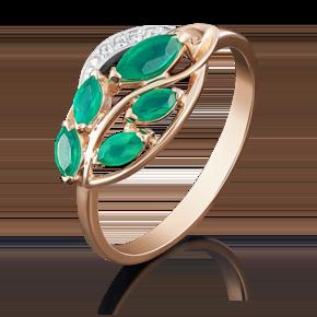 Кольцо из комбинированного золота с изумрудом и бриллиантом 01-5042-00-106-1111-30