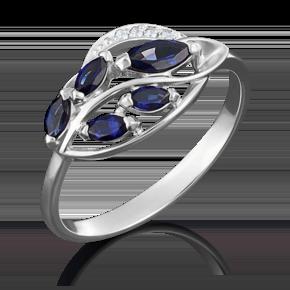 Кольцо из белого золота с сапфиром и бриллиантом 01-5042-00-105-1120-30