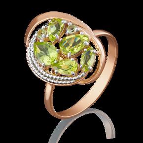 Кольцо из красного золота с хризолитом 01-5043-00-205-1110-46