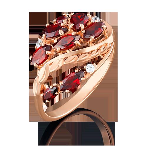 Кольцо из красного золота с гранатом и фианитом 01-5044-00-210-1110-46