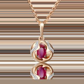 Подвеска из красного золота с рубином и бриллиантом 03-2842-00-107-1110-30