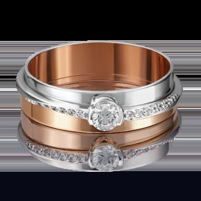 Кольцо из комбинированного золота с бриллиантом 01-5213-00-101-1111-30