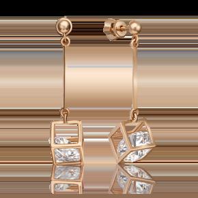Серьги-пусеты из красного золота с фианитом огр.SW 02-4382-00-501-1110-38