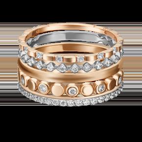 Наборное кольцо из комбинированного золота с фианитом 13-0009-00-401-1111-48