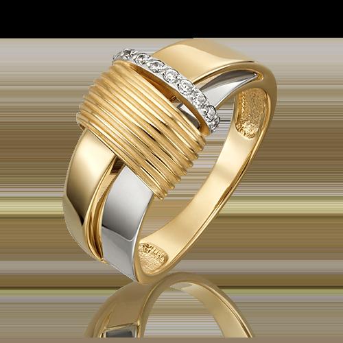 Кольцо из лимонного золота с фианитом 01-5426-00-401-1121-23