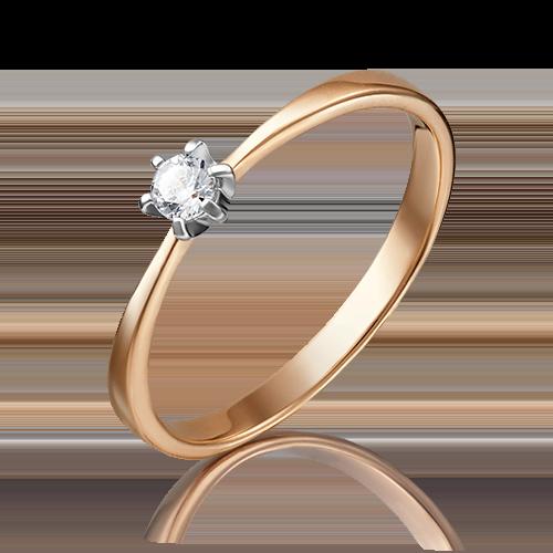 Помолвочное кольцо из комбинированного золота фианитом 01-3074-00-401-1111-03
