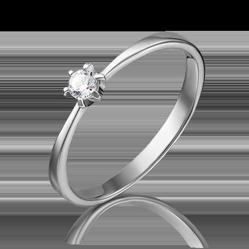 Помолвочное кольцо из белого золота фианитом 01-3075-00-401-1120-03