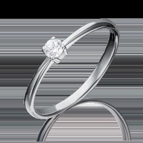 Помолвочное кольцо из белого золота с фианитом 01-3077-00-401-1120-03