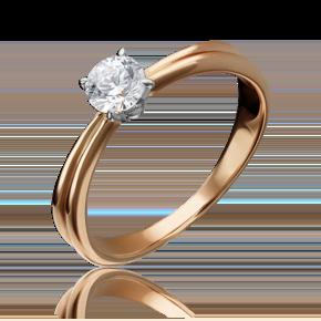 Помолвочное кольцо из комбинированного золота с фианитом 01-3080-00-401-1111-03