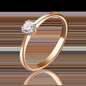 Помолвочное кольцо из красного золота с фианитом 01-3082-00-401-1110-03