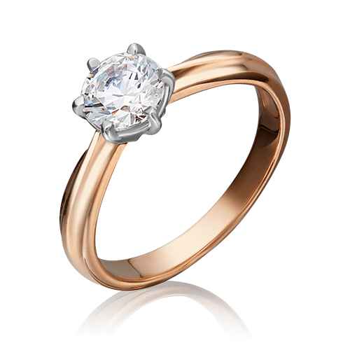 Помолвочное кольцо из комбинированного золота с фианитом 01-3090-00-401-1111-03