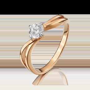 Помолвочное кольцо из красного золота с фианитом 01-3092-00-401-1110-03