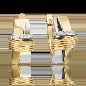 Серьги с английским замком из лимонного золота с фианитом 02-4595-00-401-1121-23