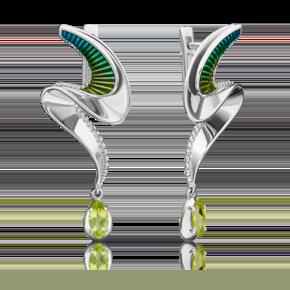 Серьги из серебра с хризолитом и эмалью 02-4727-00-205-0200-69