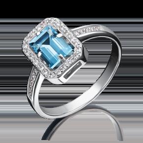 Кольцо из белого золота с топазом и фианитом 01-2323-00-207-1120-46