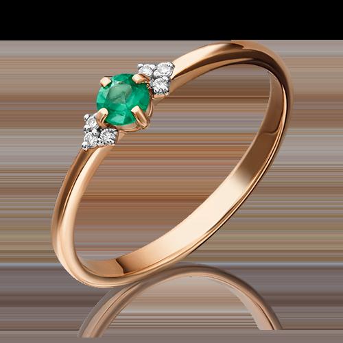 Кольцо из красного золота с изумрудом и бриллиантом 01-1486-00-106-1110-30