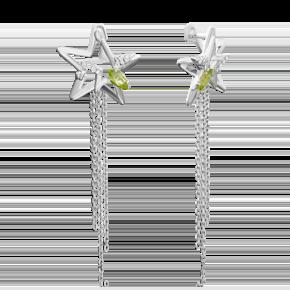 Серьги из серебра с хризолитом 02-4722-00-205-0200-69
