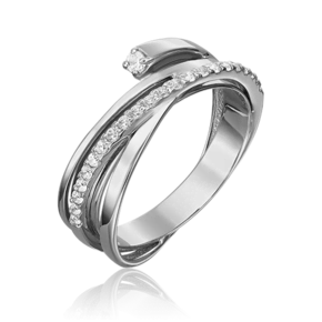 Кольцо из белого золота с фианитом 01-5436-00-401-1120-23