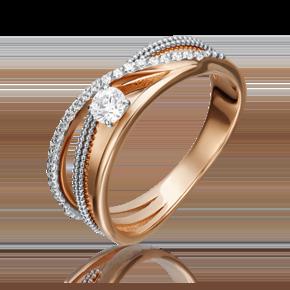 Кольцо из красного золота с бриллиантом 01-5220-00-101-1110-30