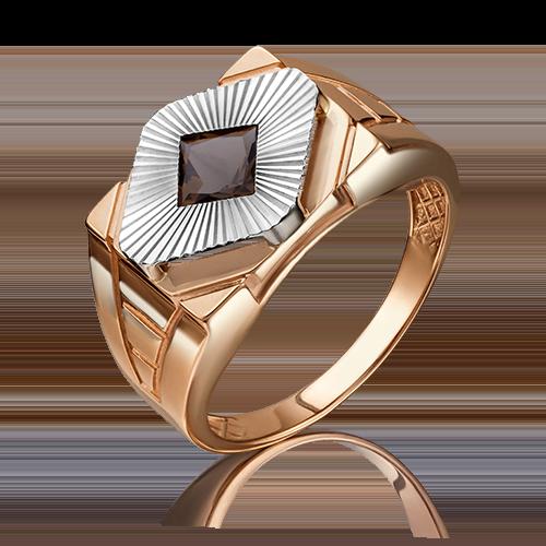 Печатка из комбинированного золота кварцем дымчатым 01-4816-00-202-1111-46