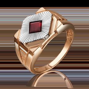Печатка из комбинированного золота с гранатом 01-4816-00-204-1111-46