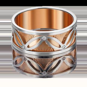 Обручальное кольцо из комбинированного золота с фианитом 01-4819-00-401-1111-54
