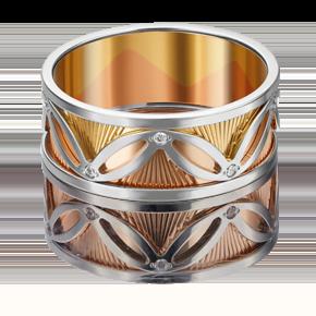 Обручальное кольцо из комбинированного золота с фианитом 01-4819-00-401-1140-54