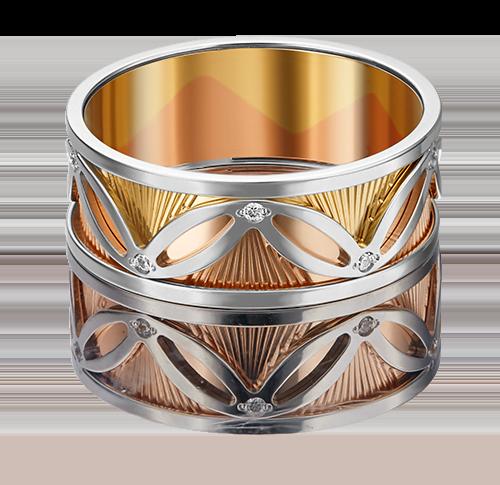 Обручальное кольцо из комбинированного золота фианитом 01-4819-00-401-1140-54